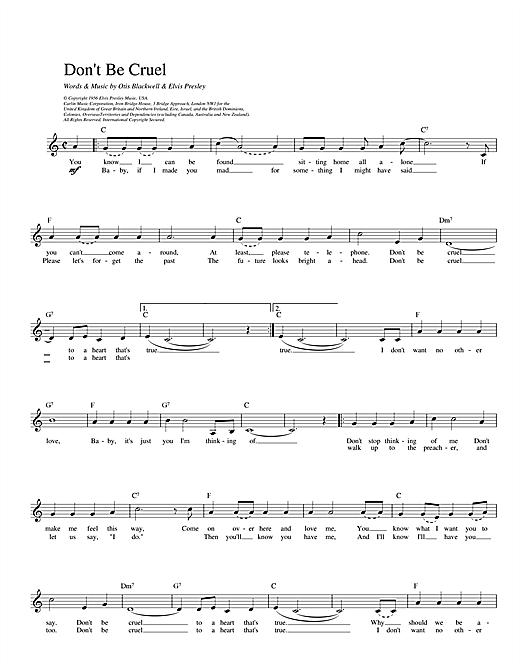 Don't Be Cruel sheet music