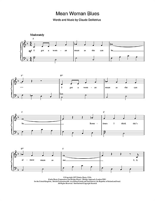 Mean Woman Blues sheet music