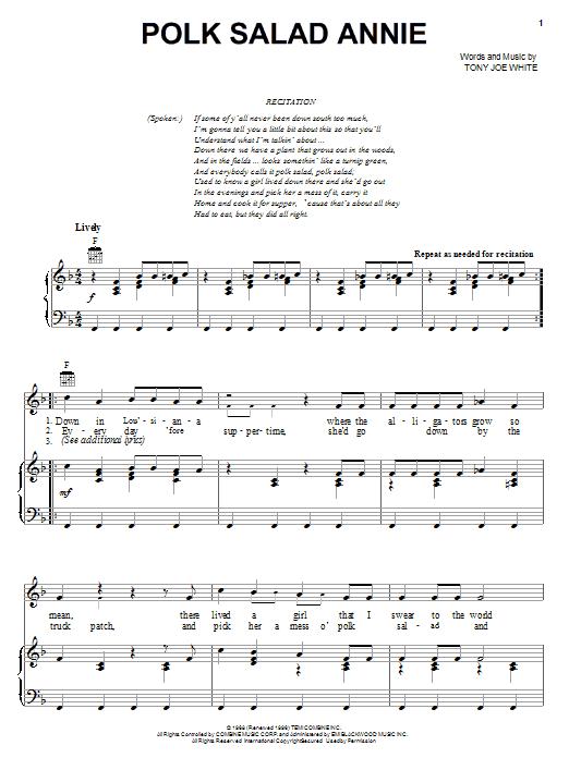 Polk Salad Annie sheet music