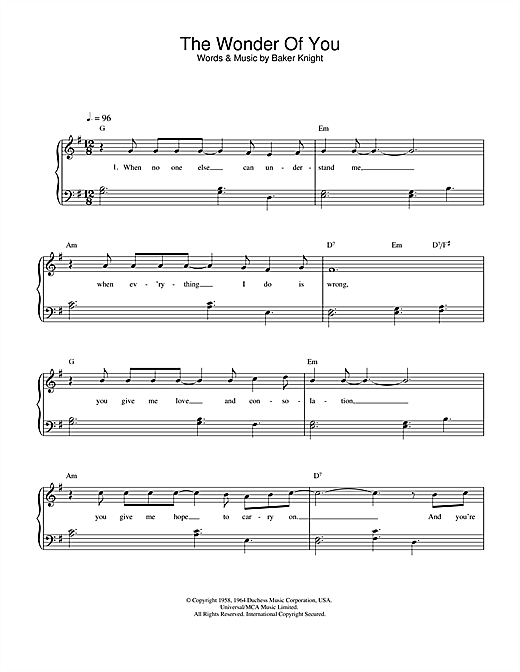 The Wonder Of You sheet music