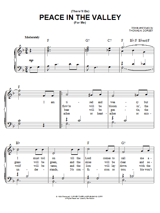 There Will Be Peace In The Valley For Me sheet music