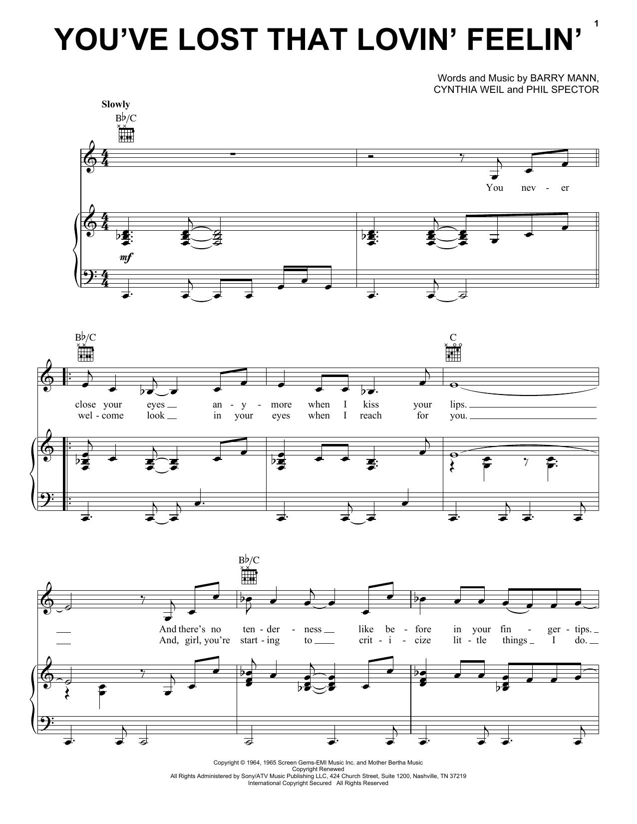 You've Lost That Lovin' Feelin' sheet music