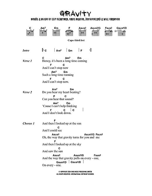 Gravity sheet music