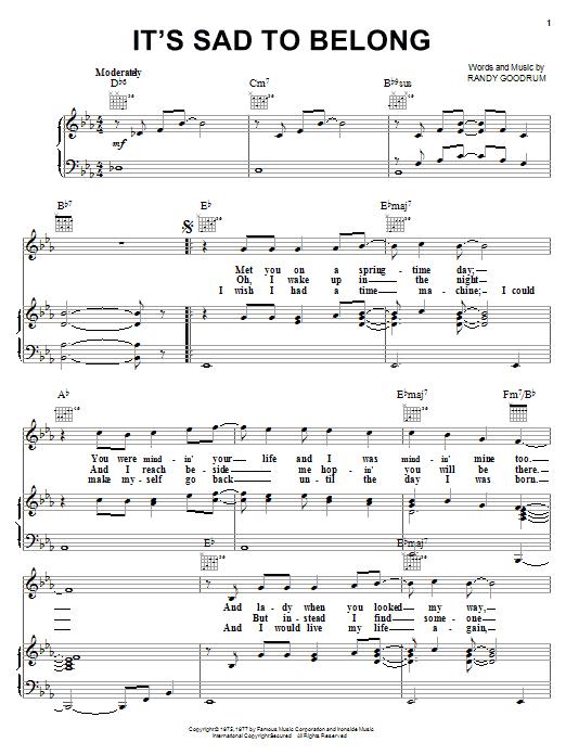It's Sad To Belong sheet music