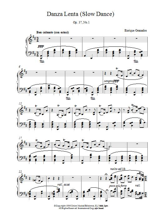 Danza Lenta Op37 No1 sheet music