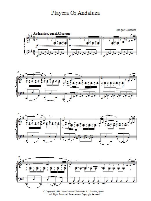 Playera Or Andaluza sheet music