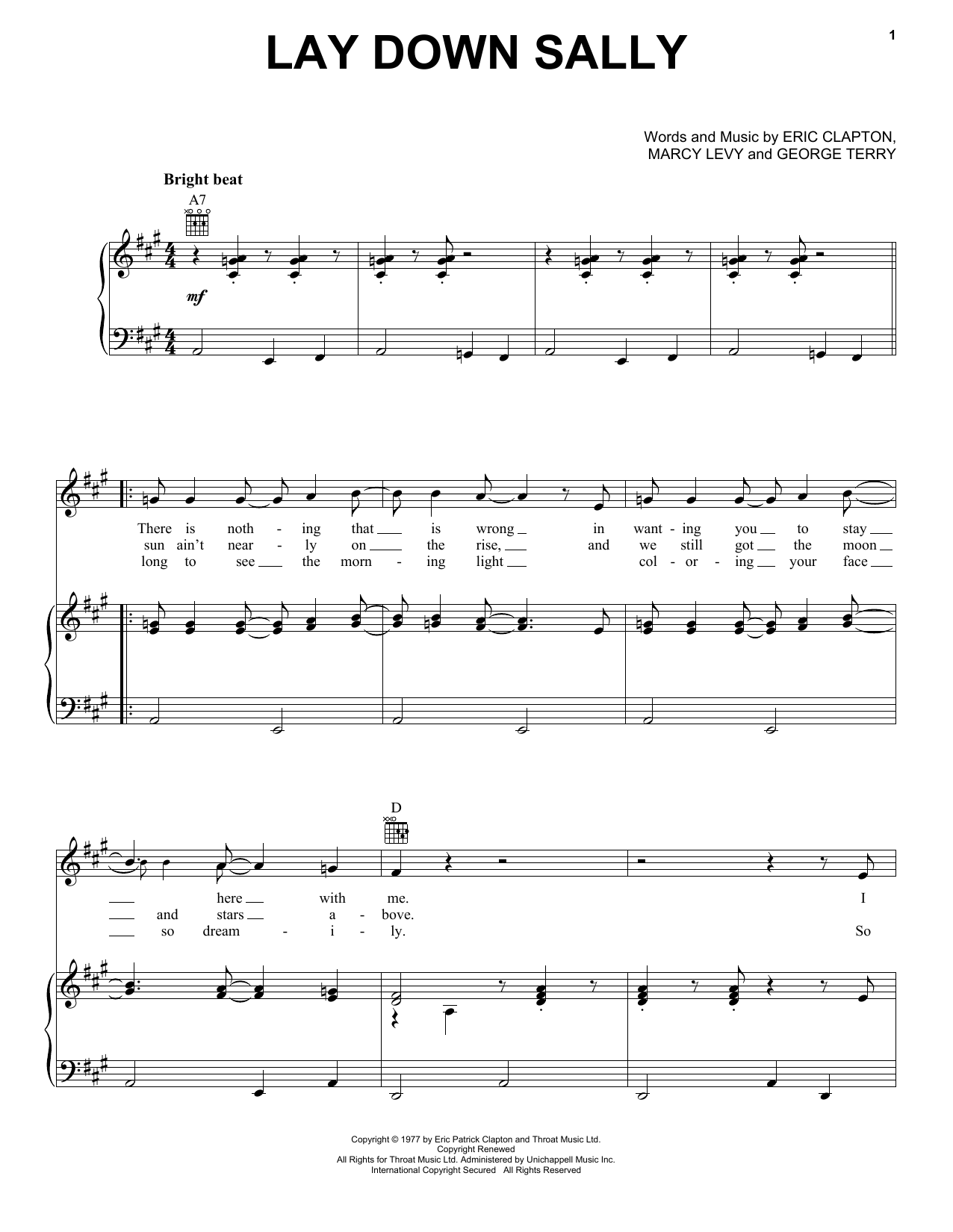 Lay Down Sally sheet music