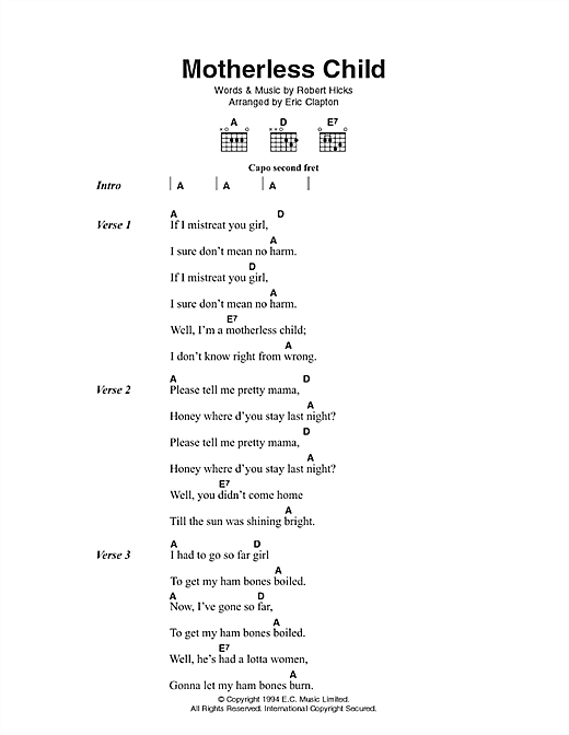 Motherless Child sheet music