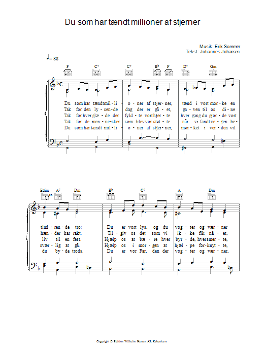 Du Som Har Tændt Millioner Af Stjerner sheet music