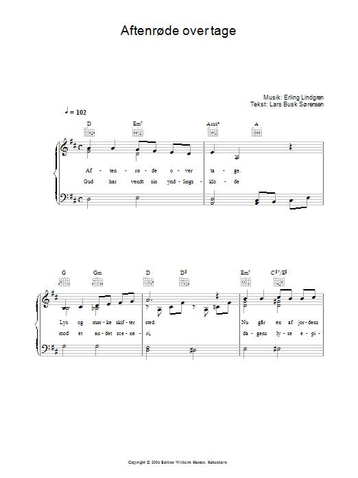 Aftenrøde Over Tage sheet music