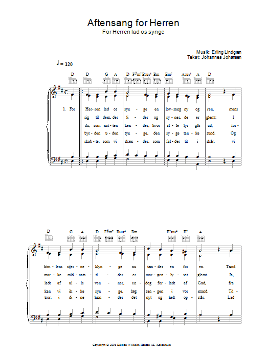 Aftensang For Herren - For Herren Lad Os Singe sheet music