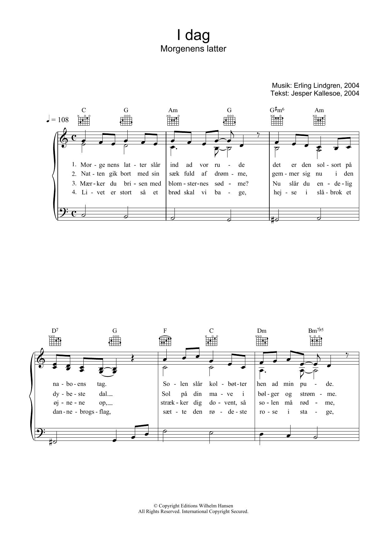 I Dag Morgenens Latter sheet music