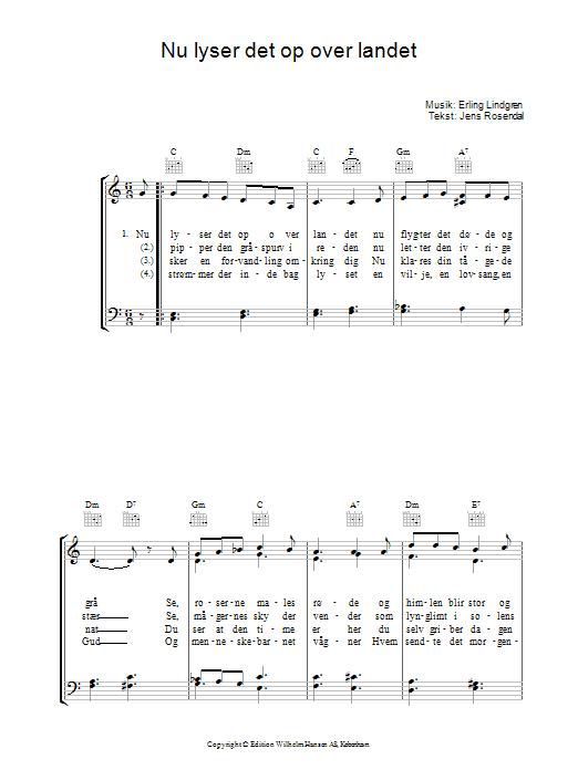 Nu Lyser Det Op Over Landet sheet music