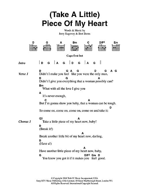 (Take A Little) Piece Of My Heart sheet music