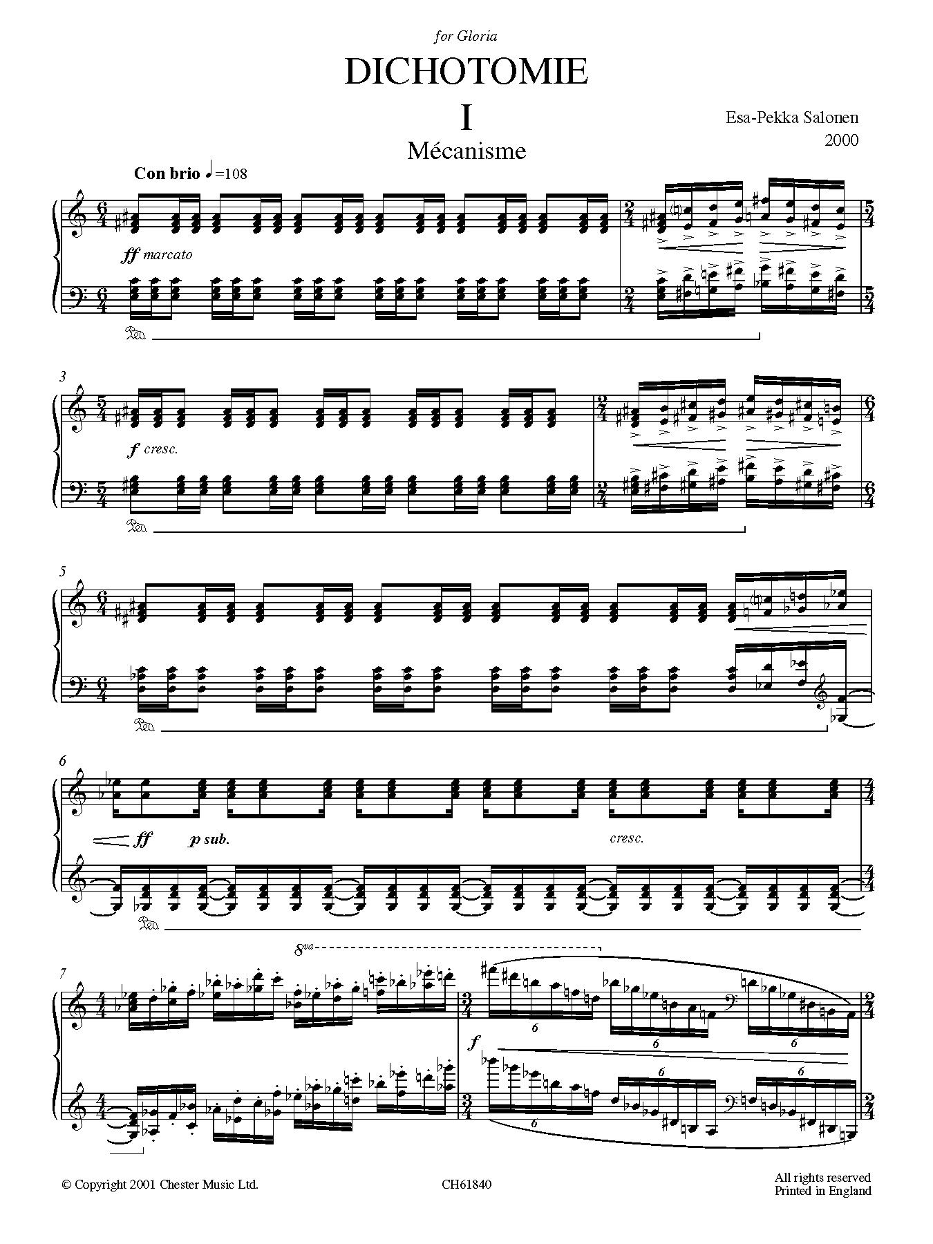 Dichotomie I - Méchanisme sheet music