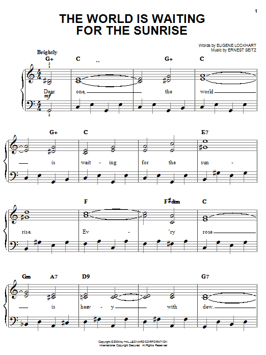 The World Is Waiting For The Sunrise sheet music