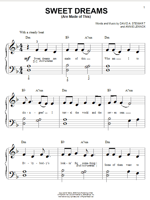Sweet Dreams (Are Made Of This) sheet music