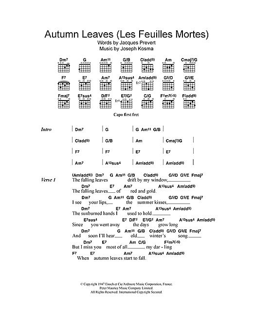 Autumn Leaves (Les Feuilles Mortes) sheet music