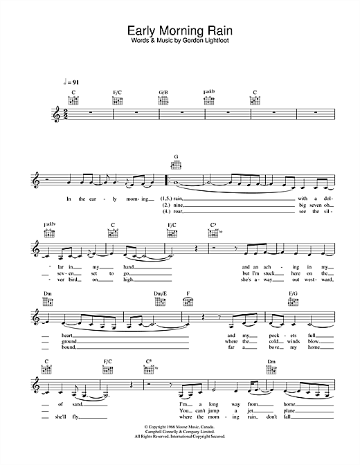 Early Morning Rain sheet music