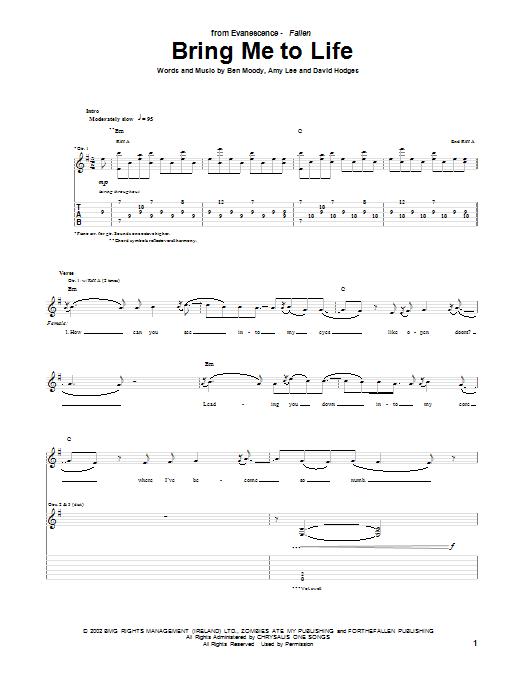 Bring Me To Life sheet music