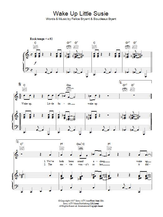 Wake Up Little Susie sheet music