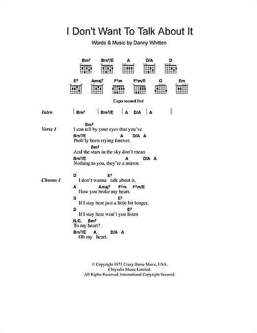 I Don't Want To Talk About It sheet music