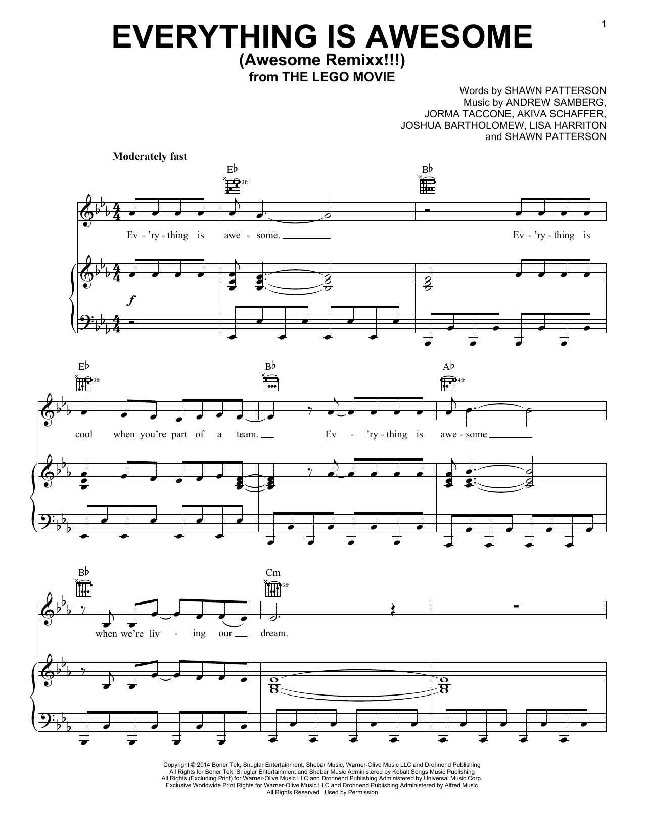 Jorma Taccone Everything Is Awesome Awesome Remixx Sheet Music Download Pdf Score 196993
