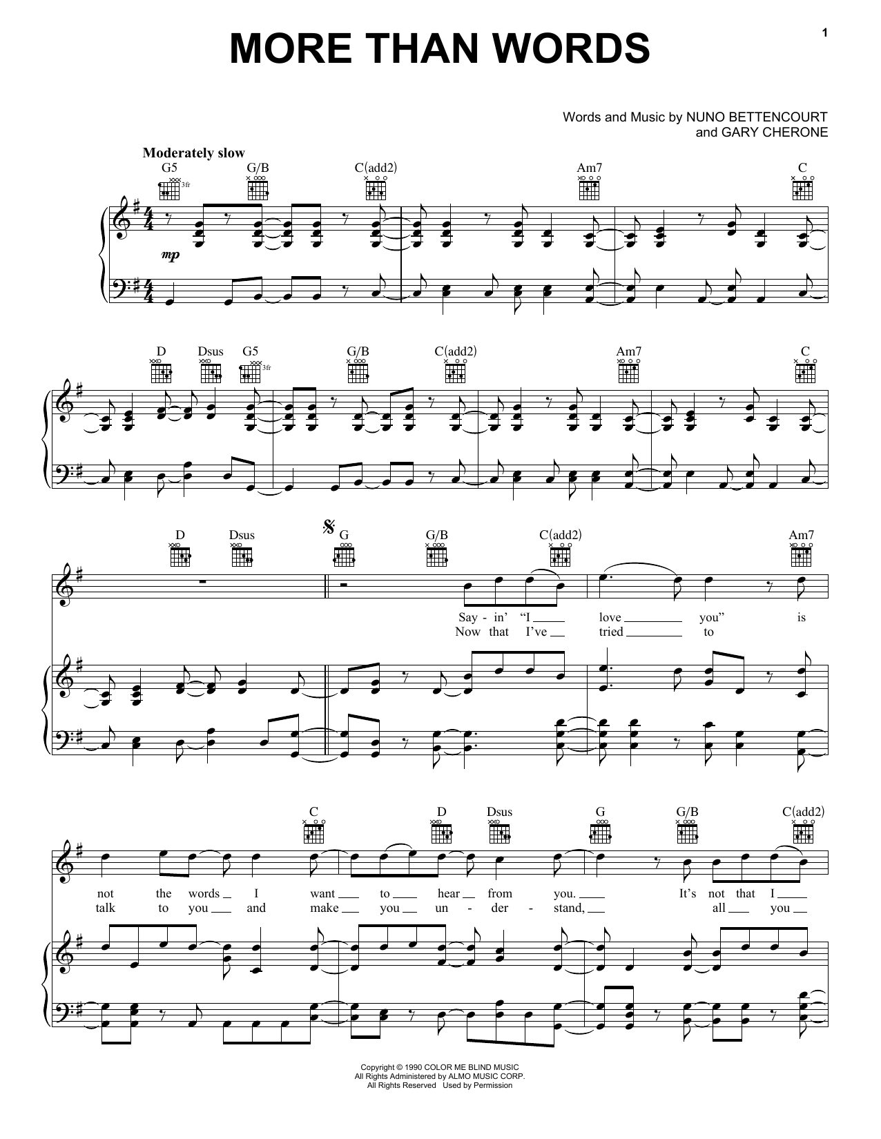 More Than Words sheet music