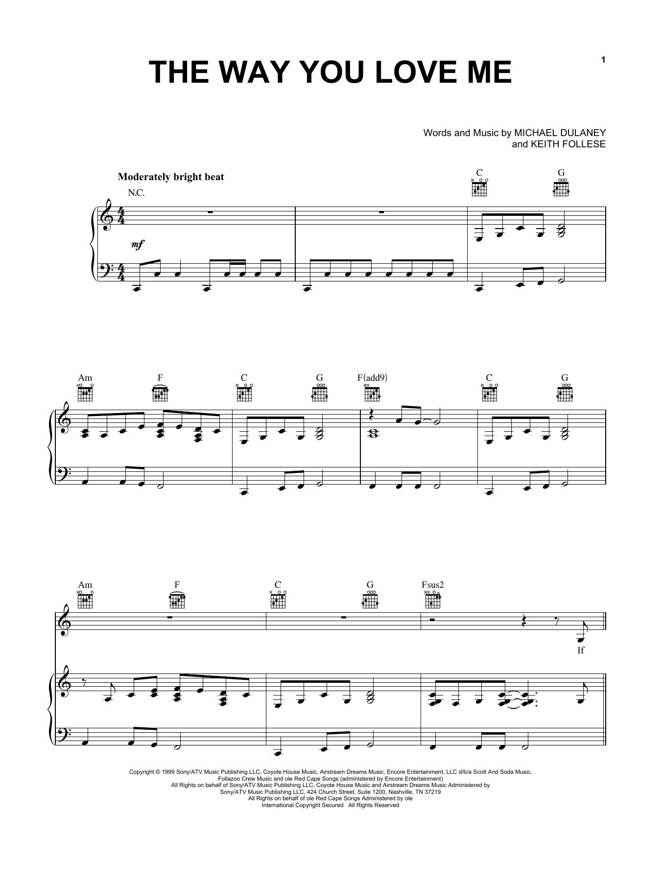The Way You Love Me sheet music