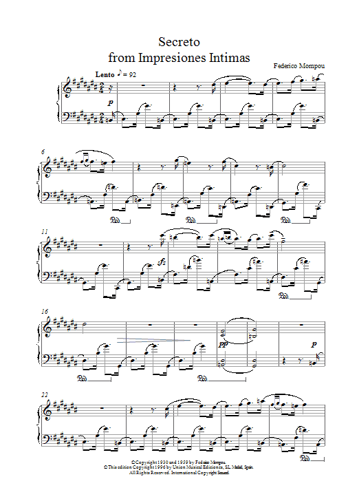 Secreto From Impresiones Intimas sheet music