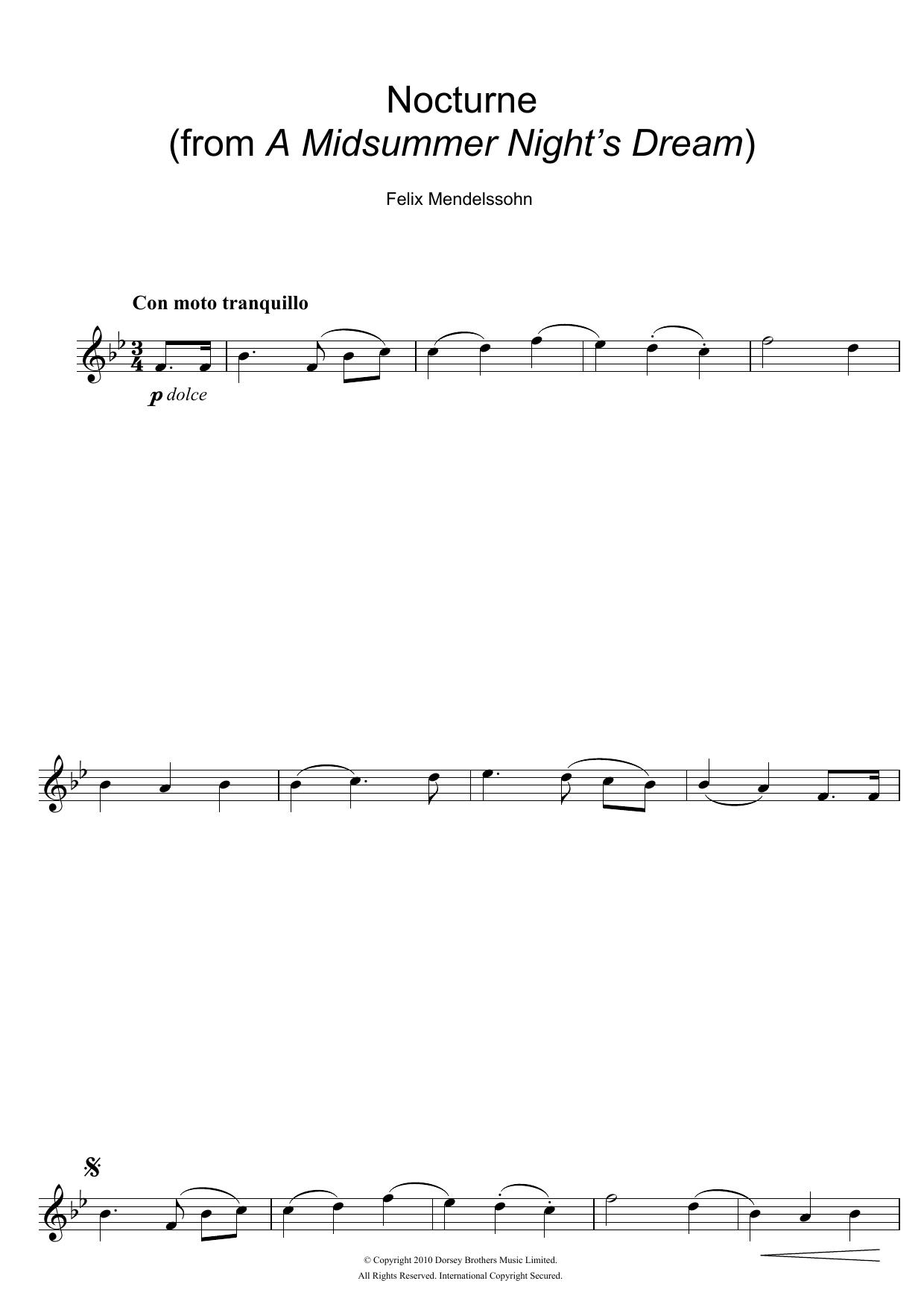 Nocturne (from A Midsummer Night's Dream) sheet music