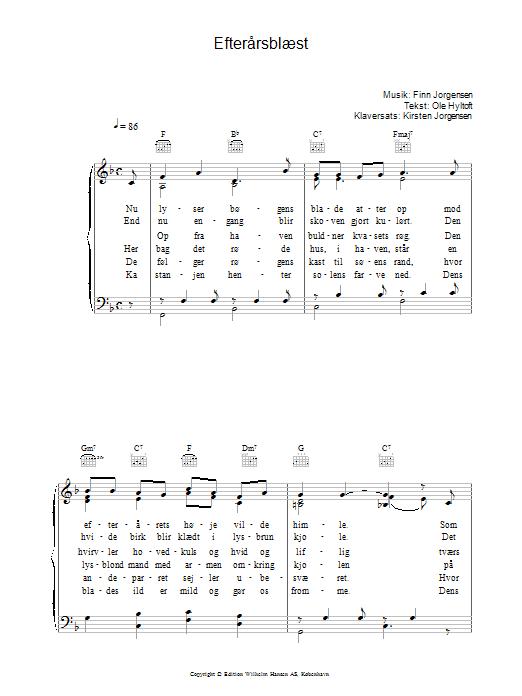 Efterårsblæst sheet music