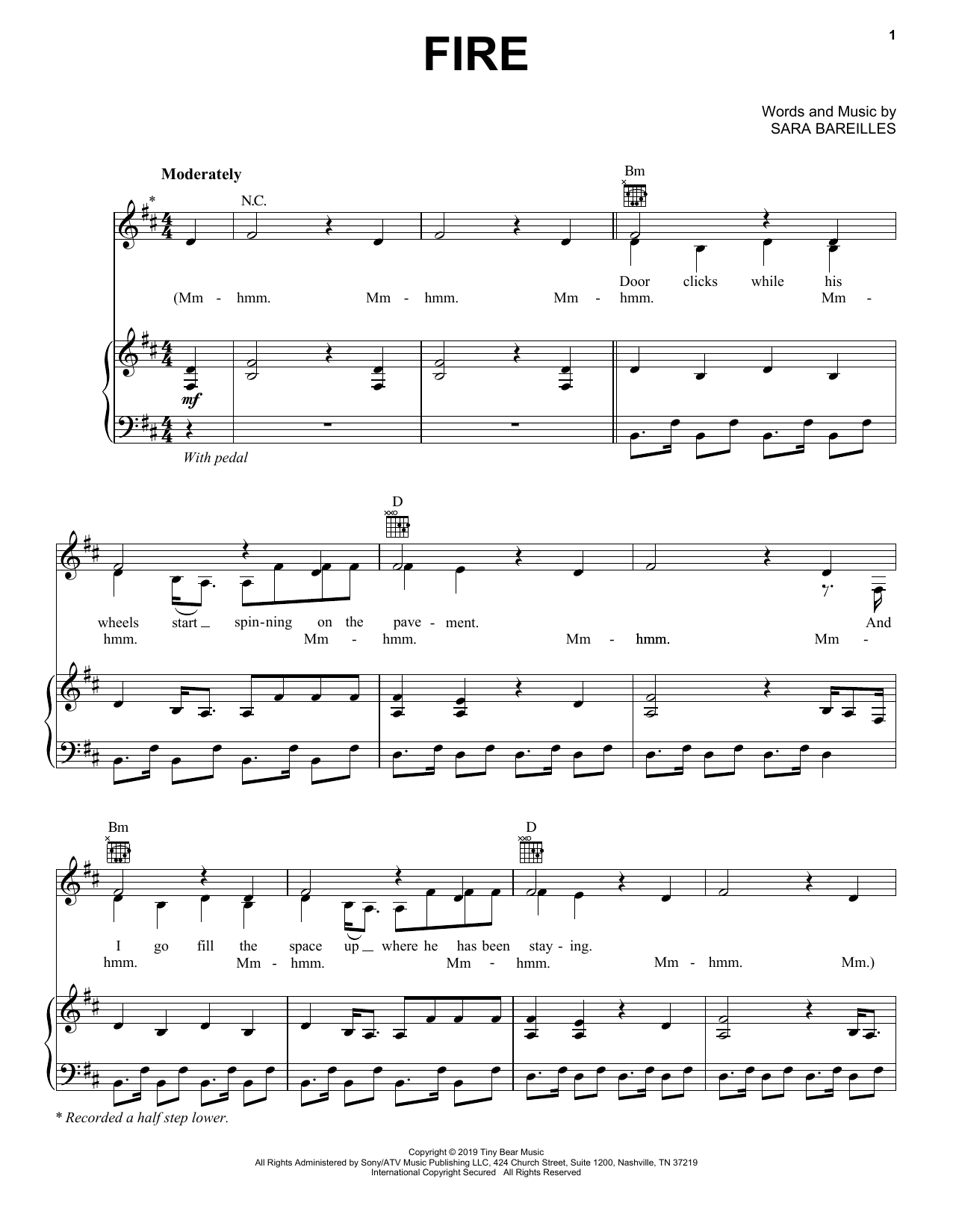 Fire sheet music
