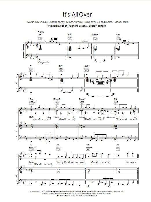 Its All Over sheet music