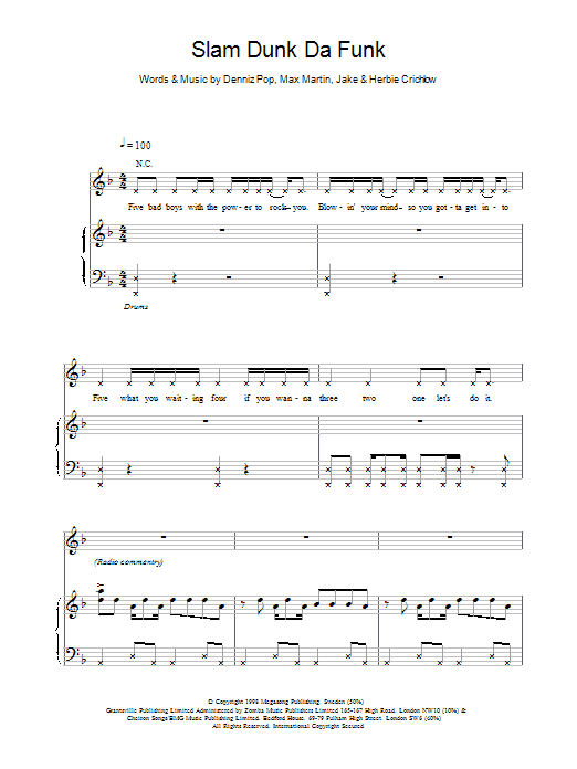 Slam Dunk Da Funk sheet music