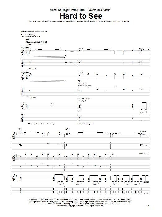 Hard To See sheet music