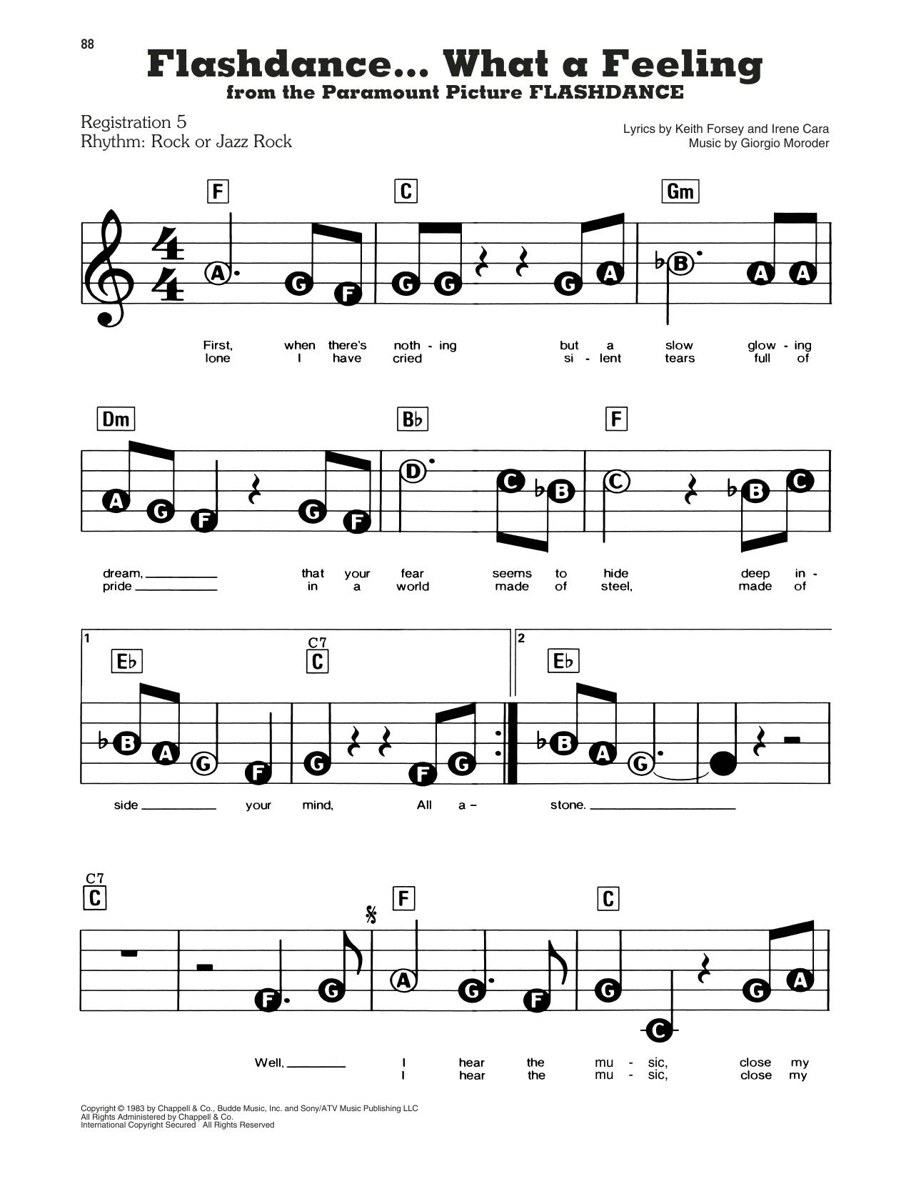 Irene Cara 'Flashdance...What A Feeling' Sheet Music Notes, Chords    Download Printable Melody Line, Lyrics & Chords   SKU 15