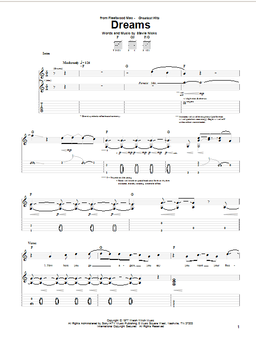 Dreams sheet music