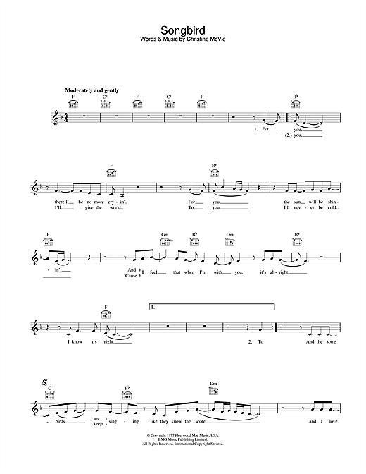 Songbird sheet music