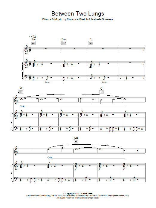 Between Two Lungs sheet music