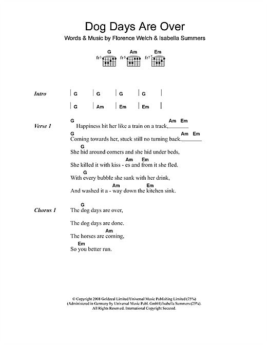 Dog Days Are Over sheet music