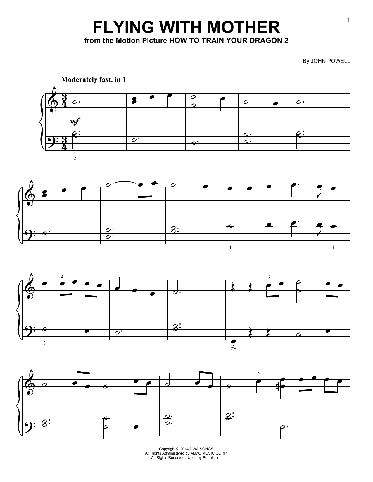John Powell Flying With Mother From How To Train Your Dragon 2 Sheet Music Download Pdf Score 419789