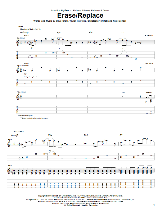 Erase/Replace sheet music