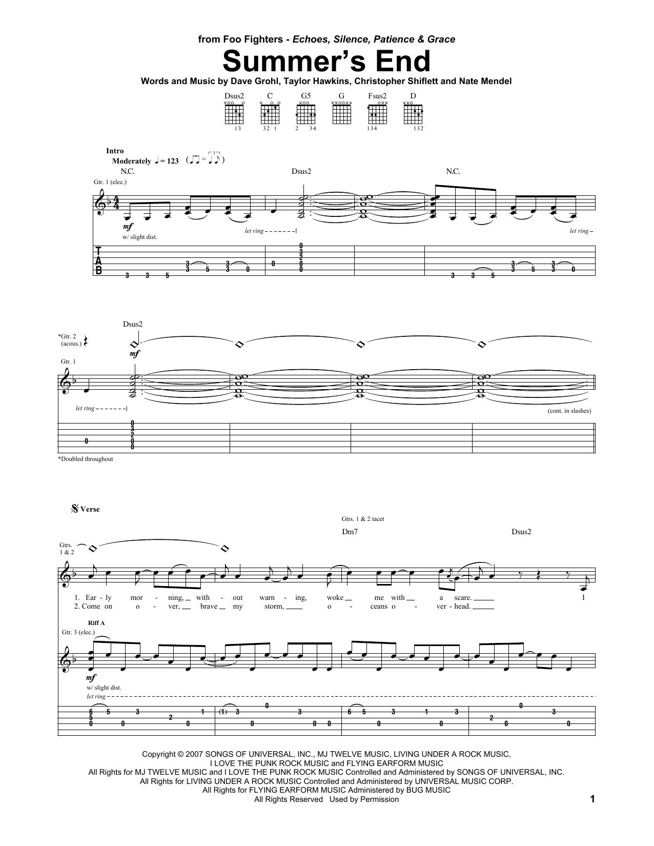 Summer's End sheet music