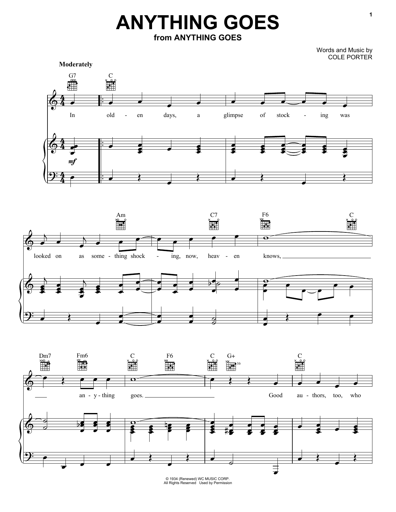 Frank Sinatra 'Anything Goes' Sheet Music Notes, Chords   Download  Printable Piano, Vocal & Guitar Right Hand Melody   SKU 15