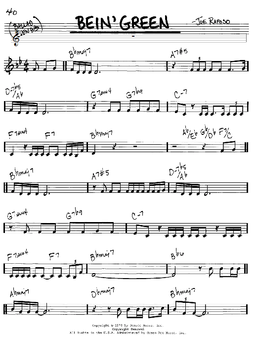 Bein' Green sheet music