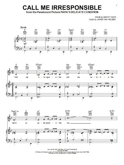 Call Me Irresponsible sheet music