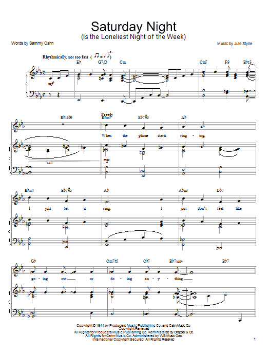 Saturday Night (Is The Loneliest Night Of The Week) sheet music