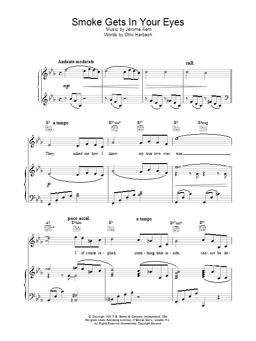 Smoke Gets In Your Eyes (from Roberta) sheet music