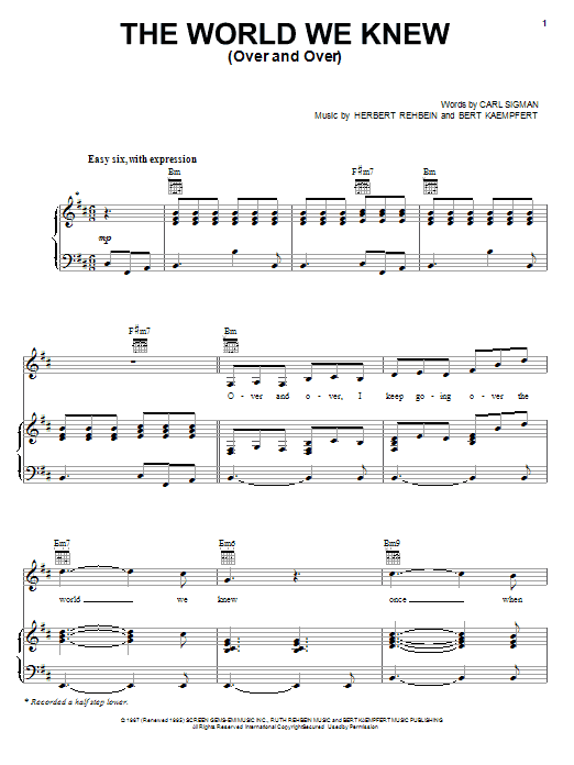 World We Knew (Over And Over) sheet music